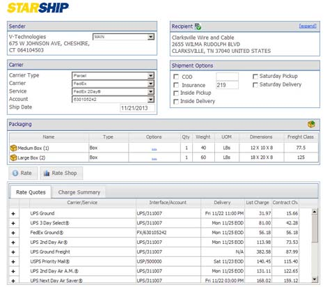 shipping software rate quote