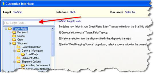 Filtering in customize interface